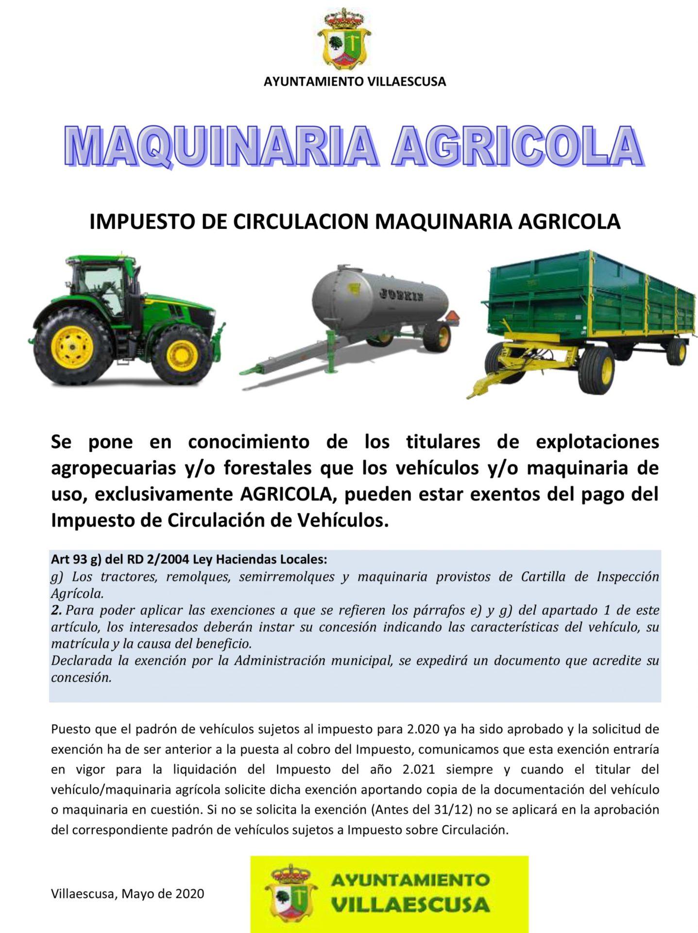 Cartel exención ICV agrícolas
