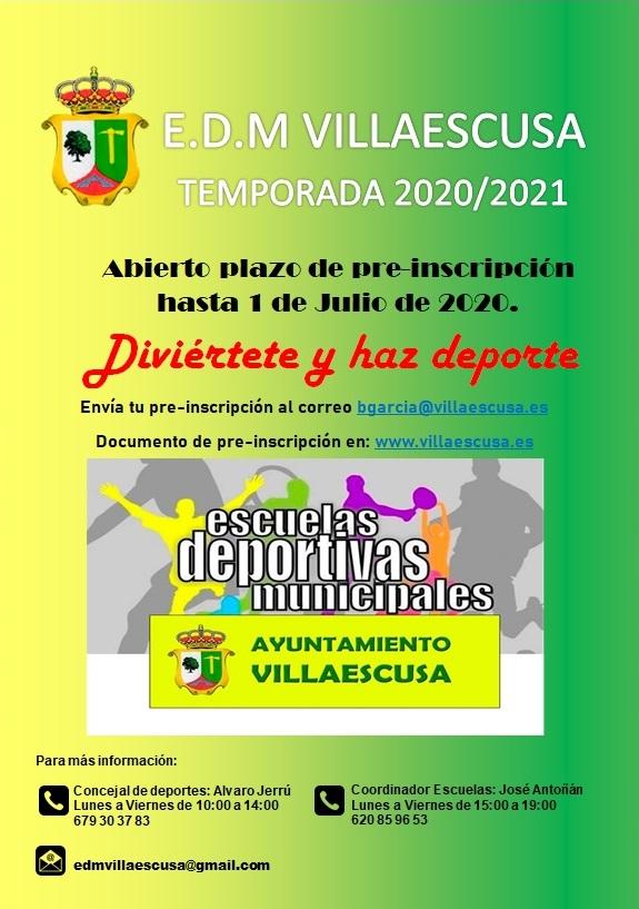 Cartel escuelas deportivas municipales